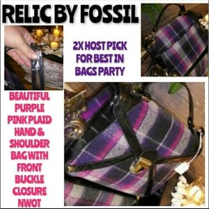 Relic By Fossil Purple Plaid Shoulder Hand Bag New